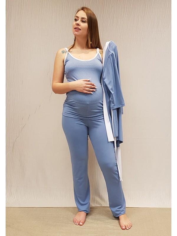 Pijama de Amamentação Clip Poa Azul Claro
